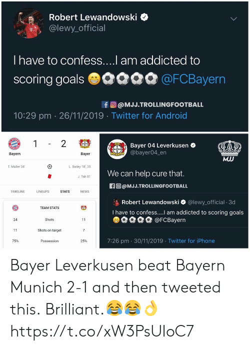Lewy: Robert Lewandowski  @lewy official  T  I have to confess....I am addicted to  scoring goals 0000 @FCBayern  fO@MJJ.TROLLINGFOOTBALL  10:29 pm 26/11/2019 Twitter for Android  GAZ  1  2  904  Bayer 04 Leverkusen  Arut  CHEP  BAYER  ENALE@bayer04_en  Bayern  Bayer  MJJ  L.Balley 10,35  T.Müller 34  We can help cure that.  J. Tah 81  f@MJJ.TROLLINGFOOTBALL  LINEUPS  TIMELINE  STATS  NEWS  Robert Lewandowski  I have to confess....l am addicted to scoring goals  @lewy_official 3d  TEAM STATS  @FCBayern  24  Shots  11  11  Shots on target  7  7:26 pm 30/11/2019 Twitter for iPhone  75%  25%  Possession Bayer Leverkusen beat Bayern Munich 2-1 and then tweeted this.  Brilliant.😂😂👌 https://t.co/xW3PsUIoC7