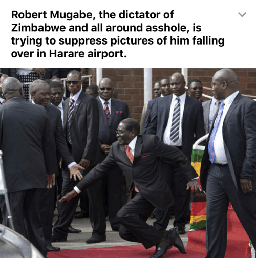 robert mugabe: Robert Mugabe, the dictator of  Zimbabwe and all around asshole, is  trying to suppress pictures of him falling  over in Harare airport.