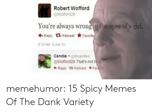 wofford: Robert Wofford  @Wofford29  You're always wrong in the eyes of a girl  Reply ta Retweet ★ Favorite  912 AM-5 Jan 13  CandleGitscandlee  @Wofford29 That's not tu  ← Reply t2 Retweet * Fa memehumor:  15 Spicy Memes Of The Dank Variety