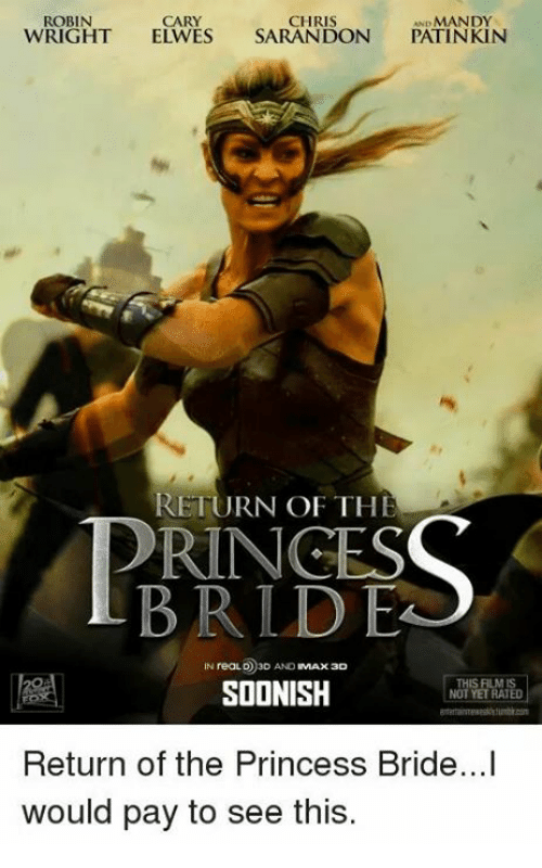 Memes, Princess, and The Princess Bride: ROBIN  CARY  CHRIS  MANDY  WRIGHT  ELWES SARANDON  PATINKIN  RETURN OF THE  PRINCES  BRLD EA  IN reaLO 3D AND  MAX 3D  THIS FILMIS  SOONISH  NOT YET RATED  Return of the Princess Bride...I  would pay to see this.