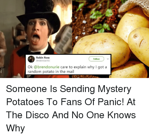 Mail, Panic at the Disco, and Potato: Robin Ross  @robinross105  Follow  Ok @brendonurie care to explain why I got a  random potato in the mail <p>Someone Is Sending Mystery Potatoes To Fans Of Panic! At The Disco And No One Knows Why</p>