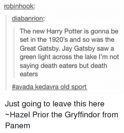 panem: robinhook:  diabanrion  The new Harry Potter is gonna be  set in the 1920's and so was the  Great Gatsby. Jay Gatsby saw a  green light across the lake l'm not  saying death eaters but death  eaters  Havada kedavra old sport Just going to leave this here ~Hazel Prior the Gryffindor from Panem