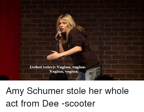 Amy Schumer, Scooter, and Vagina: (robot voice): Vagina, vagina.  vagina, vagina. Amy Schumer stole her whole act from Dee -scooter