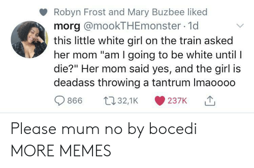 """white girl: Robyn Frost and Mary Buzbee liked  morg @mookTHEmonster 1d  this little white girl on the train asked  her mom """"am I going to be white until I  die?"""" Her mom said yes, and the girl is  deadass throwing a tantrum Imaoooo  t32,1K  866  237K Please mum no by bocedi MORE MEMES"""