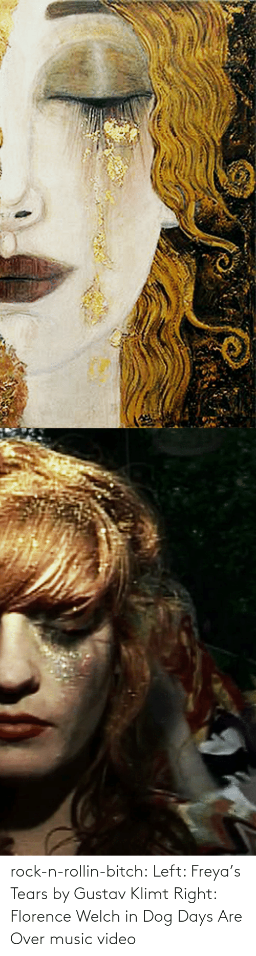 florence: rock-n-rollin-bitch: Left: Freya's Tears by Gustav Klimt Right: Florence Welch in Dog Days Are Over music video