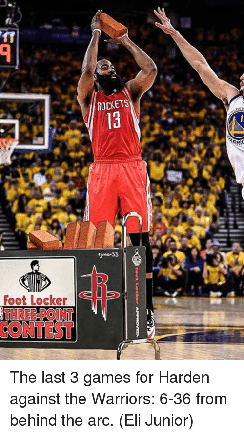 Foot Locker, Games, and Warriors: ROCKETS  Foot Locker  THREE-POINT  CONTEST The last 3 games for Harden against the Warriors:  6-36 from behind the arc.  (Eli Junior)