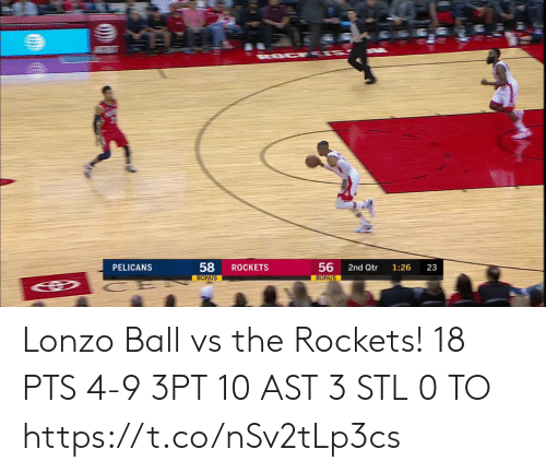 rockets: ROCKETS  PELICANS  2nd Qtr  1:26  23  BONUS  BONUS  56  58 Lonzo Ball vs the Rockets!  18 PTS 4-9 3PT 10 AST 3 STL 0 TO  https://t.co/nSv2tLp3cs