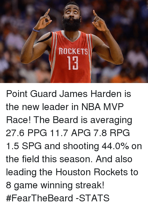 houston rocket: ROCKETS Point Guard James Harden is the new leader in NBA MVP Race!  The Beard is averaging 27.6 PPG 11.7 APG 7.8 RPG 1.5 SPG and shooting 44.0% on the field this season. And also leading the Houston Rockets to 8 game winning streak!  #FearTheBeard  -STATS