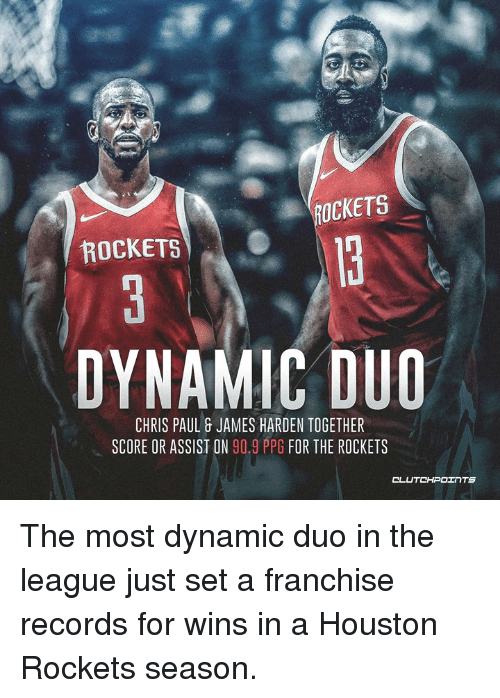 Chris Paul, Houston Rockets, and James Harden: ROCKETS  ROCKETS  DYNAMIC DUO  CHRIS PAUL & JAMES HARDEN TOGETHER  SCORE OR ASSIST ON 90.9 PPG FOR THE ROCKETS The most dynamic duo in the league just set a franchise records for wins in a Houston Rockets season.