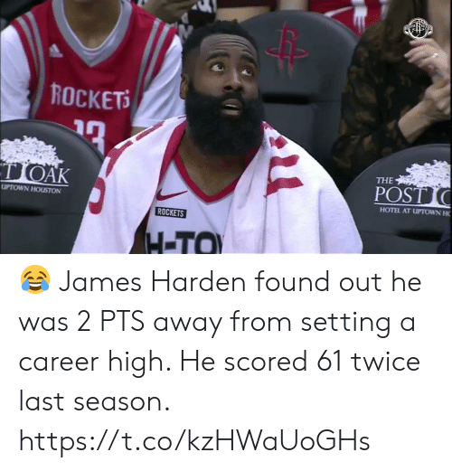 rockets: ROCKETS  TOAK  THE  POST  UPTOWN HOUSTON  HOTEL AT UPTOWN H  ROCKETS  H-TO 😂 James Harden found out he was 2 PTS away from setting a career high.   He scored 61 twice last season.    https://t.co/kzHWaUoGHs