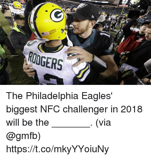 Philadelphia Eagles, Memes, and Philadelphia: RODGERS The Philadelphia Eagles' biggest NFC challenger in 2018 will be the _______.  (via @gmfb) https://t.co/mkyYYoiuNy