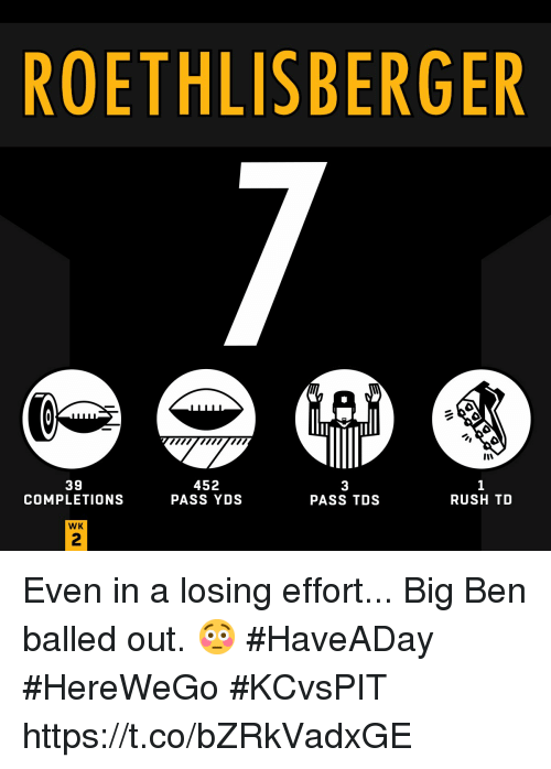 Memes, Rush, and 🤖: ROETHLISBERGER  39  COMPLETIONS  452  PASS YDS  3  PASS TDS  RUSH TD  WK  2 Even in a losing effort... Big Ben balled out. 😳  #HaveADay #HereWeGo #KCvsPIT https://t.co/bZRkVadxGE