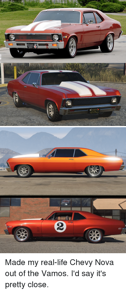 Chevy: ROGER  PENSKE  1XZH422 Made my real-life Chevy Nova out of the Vamos. I'd say it's pretty close.