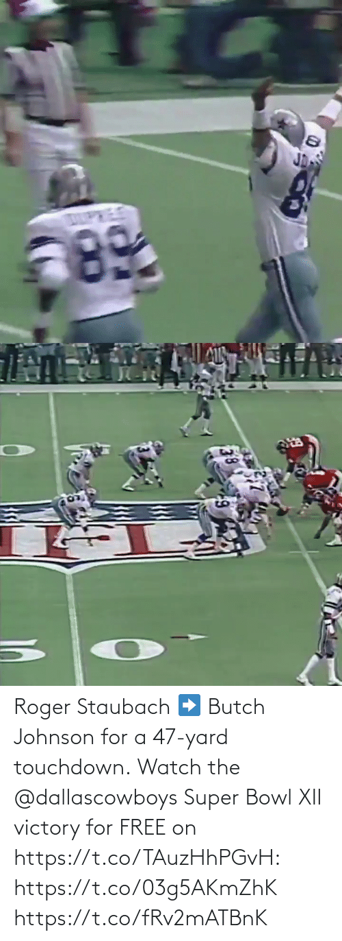 Super Bowl: Roger Staubach ➡️ Butch Johnson for a 47-yard touchdown.  Watch the @dallascowboys Super Bowl XII victory for FREE on https://t.co/TAuzHhPGvH: https://t.co/03g5AKmZhK https://t.co/fRv2mATBnK