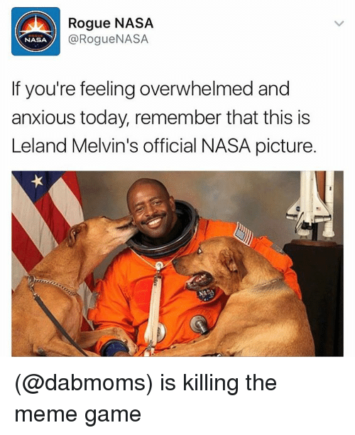 melvins: Rogue NASA  Rogue NASA  NASA  If you're feeling overwhelmed and  anxious today, remember that this is  Leland Melvin's official NASA picture. (@dabmoms) is killing the meme game