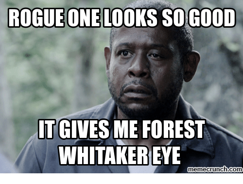 Forest Whitakers Eye: ROGUE ONE LOOKS SOGOOD  IT GIVES ME FOREST  WHITAKER EYE  memecrunch.com