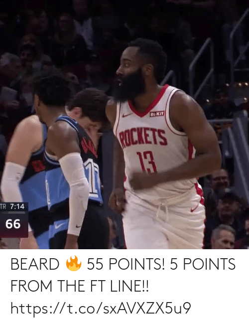 rockets: ROKIT  ROCKETS  13  TR 7:14  66 BEARD 🔥 55 POINTS! 5 POINTS FROM THE FT LINE!!   https://t.co/sxAVXZX5u9