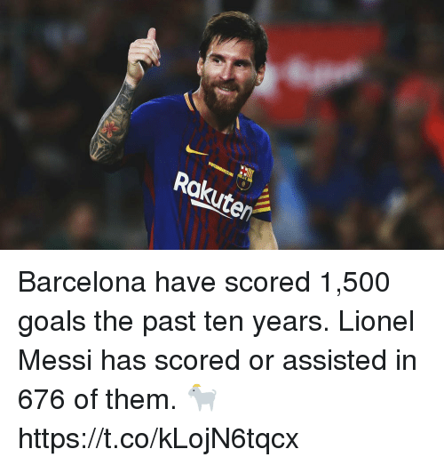 Barcelona, Goals, and Soccer: Rokute Barcelona have scored 1,500 goals the past ten years. Lionel Messi has scored or assisted in 676 of them. 🐐 https://t.co/kLojN6tqcx