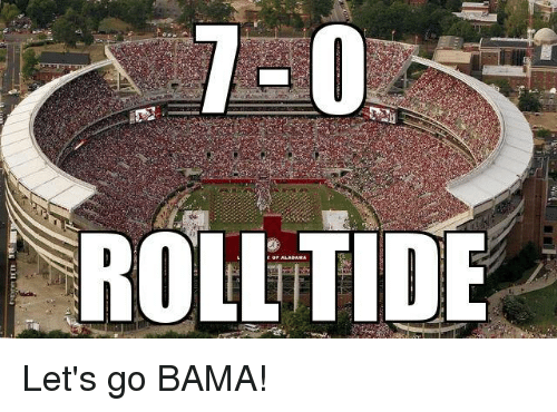go go bama Bama elects to go for it, but saban has to call timeout as the play clock is   bama's freshman running back opens a big drive with a manly.