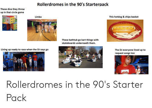 circle game: Rollerdromes in the 90's Starterpack  These dice they threw  up in that circle game  This hotdog & chips basket  Limbo  These bathtub go kart things with  skateboards underneath them  Lining up ready to race when the DJ says go  The DJ everyone lined up to  request songs too  EVERTOAY Rollerdromes in the 90's Starter Pack