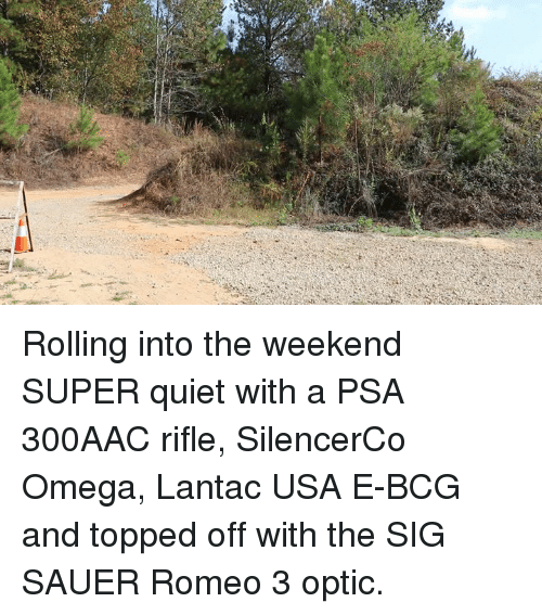 sig sauer: Rolling into the weekend SUPER quiet with a PSA 300AAC rifle, SilencerCo Omega, Lantac USA E-BCG and topped off with the SIG SAUER Romeo 3 optic.