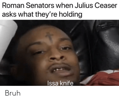 Issa Knife: Roman Senators when Julius Ceaser  asks what they're holding  Issa knife Bruh
