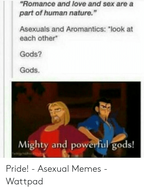Romance And Love And Sex Are A Part Of Human Nature Asexuals And Aromantics Look At Each Other Gods Gods Mighty And Powerful Gods Pride Asexual Memes Wattpad Love