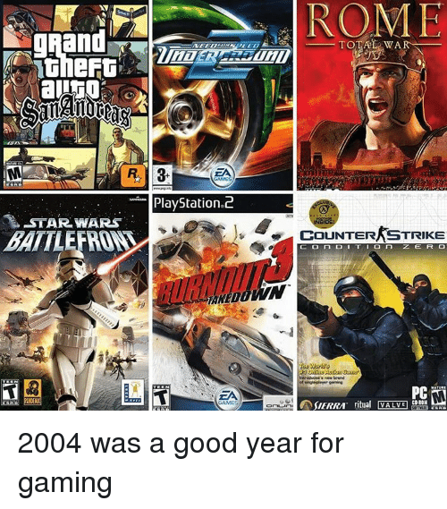 Counter Strikes: ROME  PlayStation 2  -STAR WARS  RE  TOTAL WAR  COUNTER STRIKE  ZE FR CO  CD-ROH  ritual VALME  SIERRA 2004 was a good year for gaming