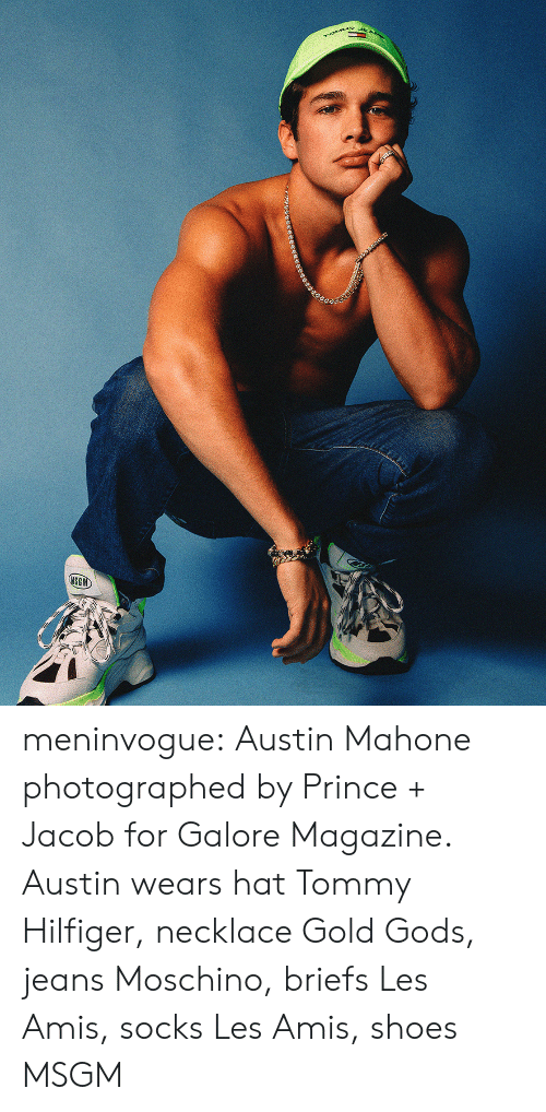 jacob: rOMMY  MSGM meninvogue:  Austin Mahone photographed by Prince + Jacob for Galore Magazine. Austin wears hat Tommy Hilfiger, necklace Gold Gods, jeans Moschino, briefs Les Amis, socks Les Amis, shoes MSGM