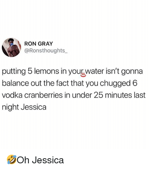 Memes, Vodka, and 🤖: RON GRAY  @Ronsthoughts_  putting 5 lemons in yourwater isn't gonna  balance out the fact that you chugged 6  vodka cranberries in under 25 minutes last  night Jessica 🤣Oh Jessica