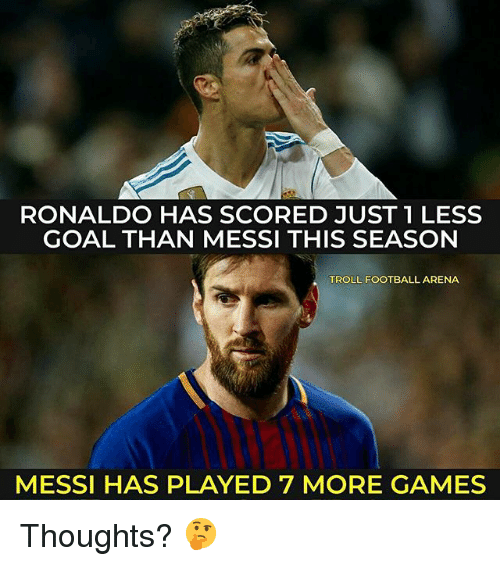 Football, Memes, and Troll: RONALDO HAS SCORED JUST 1 LESS  GOAL THAN MESSI THIS SEASON  TROLL FOOTBALL ARENA  MESSI HAS PLAYED 7 MORE GAMES Thoughts? 🤔