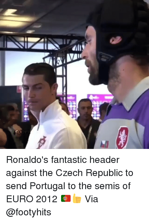 Memes, Euro, and Portugal: Ronaldo's fantastic header against the Czech Republic to send Portugal to the semis of EURO 2012 🇵🇹👍 Via @footyhits