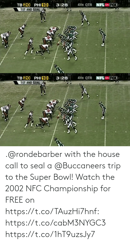 Super Bowl: .@rondebarber with the house call to seal a @Buccaneers trip to the Super Bowl!   Watch the 2002 NFC Championship for FREE on https://t.co/TAuzHi7hnf: https://t.co/cabM3NYGC3 https://t.co/1hT9uzsJy7