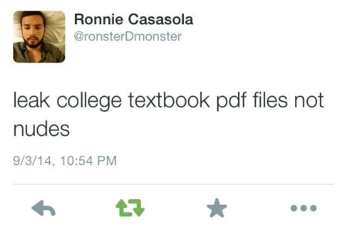 Textbook: Ronnie Casasola  @ronsterDmonster  leak college textbook pdf files not  nudes  9/3/14, 10:54 PM