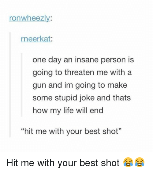"""Stupidity Jokes: ronwheezly:  eerkat  one day an insane person is  going to threaten me with a  gun and im going to make  some stupid joke and thats  how my life will end  """"hit me with your best shot"""" Hit me with your best shot 😂😂"""