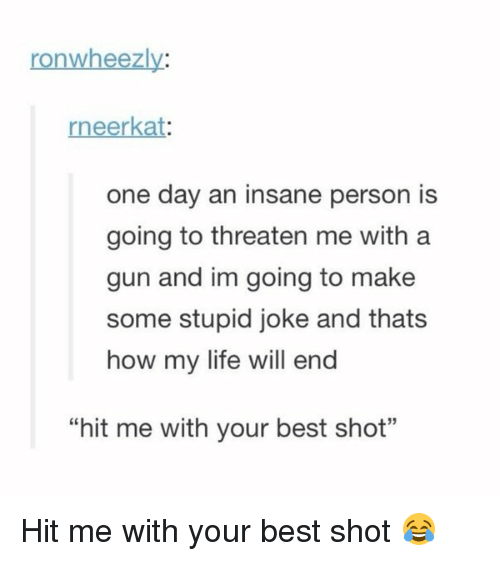 """Stupidity Jokes: ronwheezly:  eerkat  one day an insane person is  going to threaten me with a  gun and im going to make  some stupid joke and thats  how my life will end  """"hit me with your best shot"""" Hit me with your best shot 😂"""