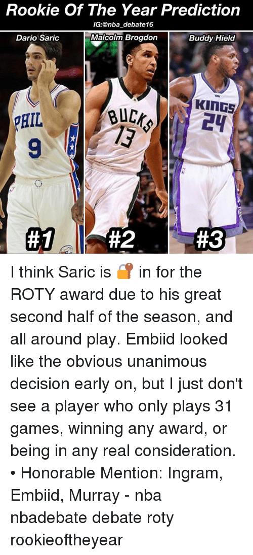 Memes, Nba, and Games: Rookie Of The Year Prediction  IG: @nba debate16  Malcolm Brogdon  Dario Saric  Buddy Hield  KINGS  HIL  I think Saric is 🔐 in for the ROTY award due to his great second half of the season, and all around play. Embiid looked like the obvious unanimous decision early on, but I just don't see a player who only plays 31 games, winning any award, or being in any real consideration. • Honorable Mention: Ingram, Embiid, Murray - nba nbadebate debate roty rookieoftheyear