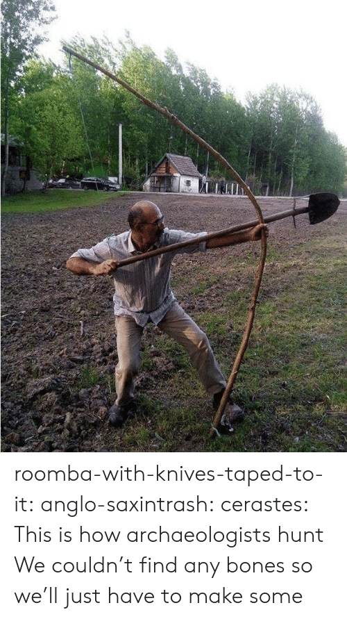 Roomba: roomba-with-knives-taped-to-it: anglo-saxintrash:  cerastes:   This is how archaeologists hunt   We couldn't find any bones so we'll just have to make some