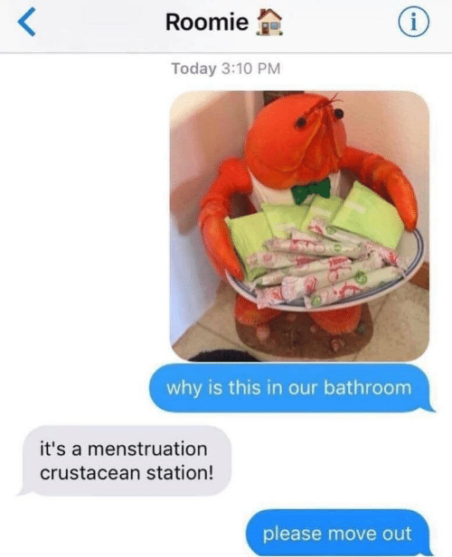 menstruation: Roomie  Today 3:10 PM  why is this in our bathroom  it's a menstruation  crustacean station!  please move out