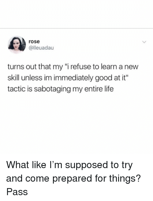 """Life, Good, and Rose: rose  @lleuadau  turns out that my """"i refuse to learn a new  skill unless im immediately good at it""""  tactic is sabotaging my entire life What like I'm supposed to try and come prepared for things? Pass"""