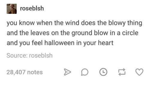 Halloween, Heart, and Humans of Tumblr: roseblsh  you know when the wind does the blowy thing  and the leaves on the ground blow in a circle  and you feel halloween in your heart  Source: roseblsh  28,407 notesD