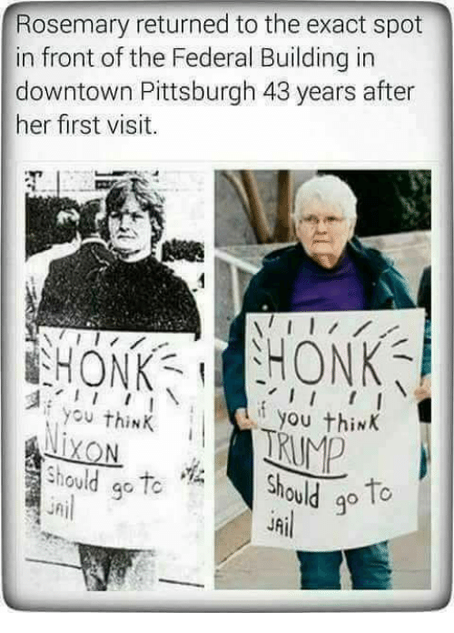 Jail, Pittsburgh, and Her: Rosemary returned to the exact spot  in front of the Federal Building in  downtown Pittsburgh 43 years after  her first visit.  i you thiNKI  you think  Siould ao Tc  uni  should o  JAil  9c  g°
