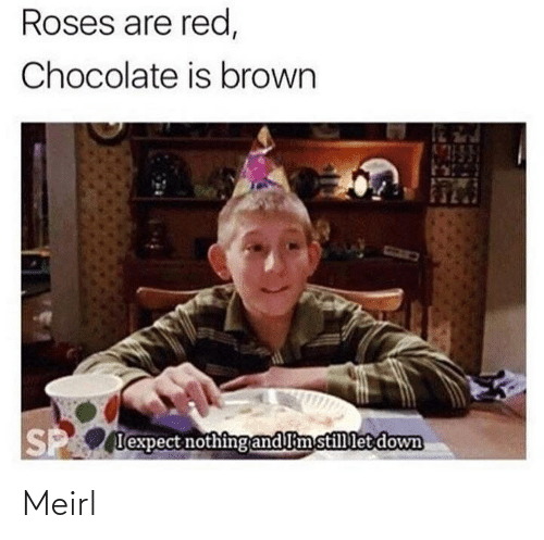 roses are red: Roses are red,  Chocolate is brown  P lexpect nothing and limstillet down Meirl