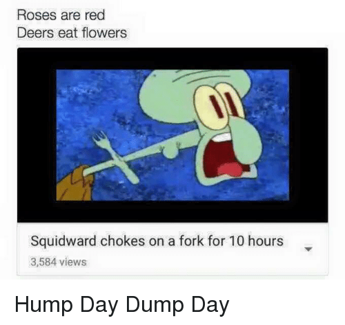 hump: Roses are red  Deers eat flowers  Squidward chokes on a fork for 10 hours  3,584 views Hump Day Dump Day