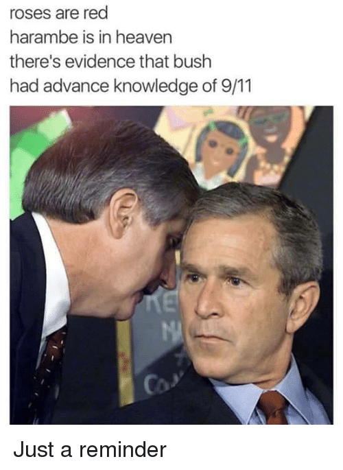 9/11, Heaven, and Reds: roses are red  harambe is in heaven  there's evidence that bush  had advance knowledge of 9/11 Just a reminder