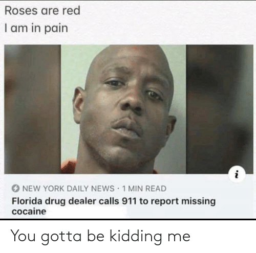 you gotta be kidding me: Roses are red  I am in pain  1 MIN READ  NEW YORK DAILY NEWS  Florida drug dealer calls 911 to report missing  cocaine You gotta be kidding me