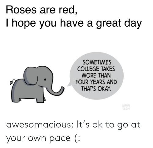 roses are red: Roses are red,  I hope you have a great day  SOMETIMES  COLLEGE TAKES  MORE THAN  FOUR YEARS AND  THAT'S OKAY.  EMM  ROY awesomacious:  It's ok to go at your own pace (:
