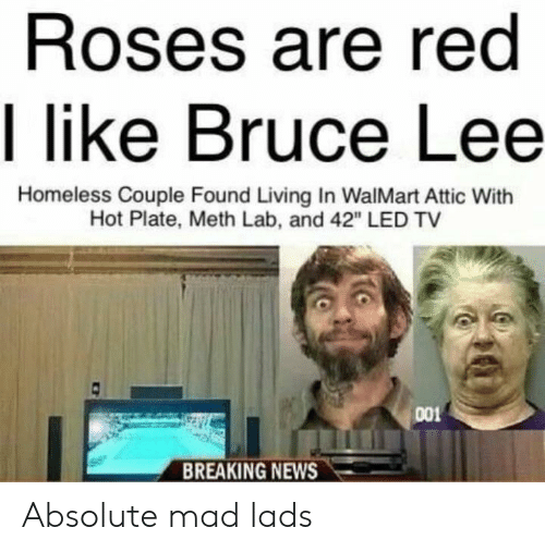 """lads: Roses are red  I like Bruce Lee  Homeless Couple Found Living In WalMart Attic With  Hot Plate, Meth Lab, and 42"""" LED TV  001  BREAKING NEWS Absolute mad lads"""