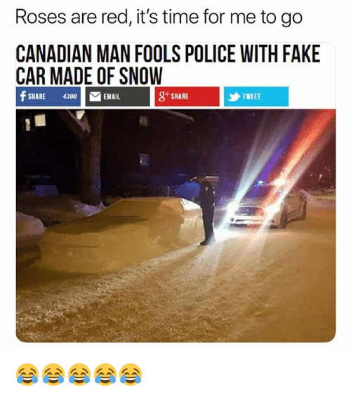 Fake, Police, and Snow: Roses are red, it's time for me to go  CANADIAN MAN FOOLS POLICE WITH FAKE  CAR MADE OF SNOW  SHARE 430EMAIL  g SHARE  乡TWEET 😂😂😂😂😂