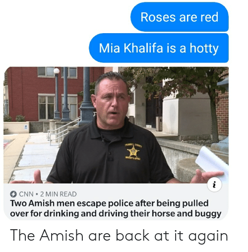 drinking and driving: Roses are red  Mia Khalifa is a hotty  TRUMBULL COUNTY  EROFFICE  CNN 2 MIN READ  Two Amish men escape police after being pulled  over for drinking and driving their horse and buggy The Amish are back at it again